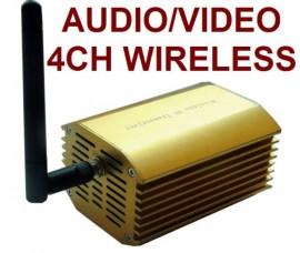 3000mw 4-Channel Wireless AV Audio/Video Transmitter & Receiver Kit