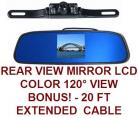 REAR VIEW MIRROR MOUNT BACKUP CAMERA SYSTEM WITH LICENSE CAMERA