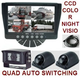 Rear View Backup System-3 CCD Infrared Cameras & 7