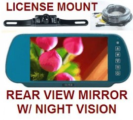 REAR VIEW MIRROR BACKUP CAMERA SYSTEM W/ LICENSE MOUNT CAM