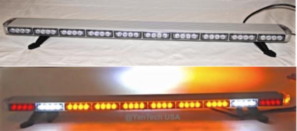 amber LED light bar flashing on