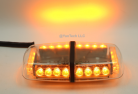 "12"" 24W Amber Yellow Mini LED Lights Bar 15 Warning Strobe Modes w/ Magnetic Base for Hazard, Emergency, Snow Plow Vehicles"