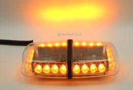 "12"" 24W Amber Yellow Mini LED Lights Bar 15 Warning Strobe Modes w/ Magnetic Base for Hazard, Emergency, Snow Plow Vehicles"